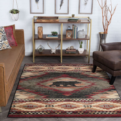 Tayse Expedition Wildlife Novelty Lodge Area Rug