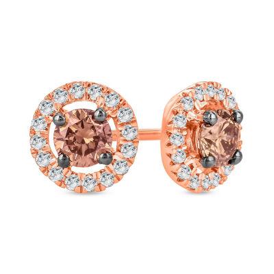 1/2 CT. T.W. Multi Color Diamond 10K Gold 6.7mm Stud Earrings