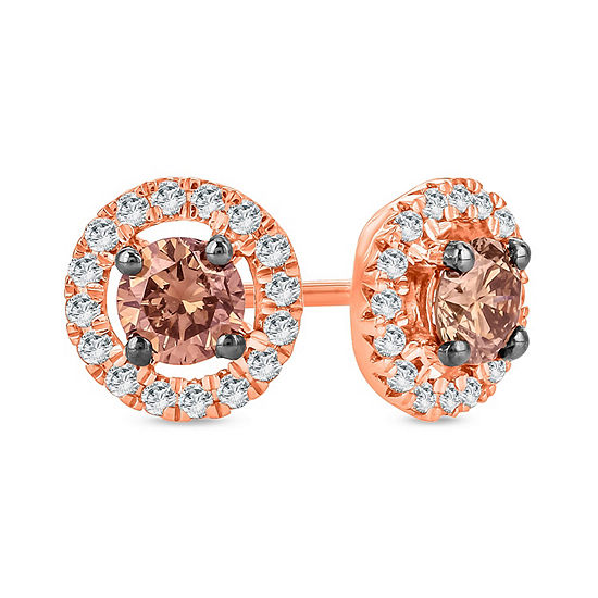 1/2 CT. T.W. Genuine Multi Color Diamond 10K Gold 6.7mm Stud Earrings