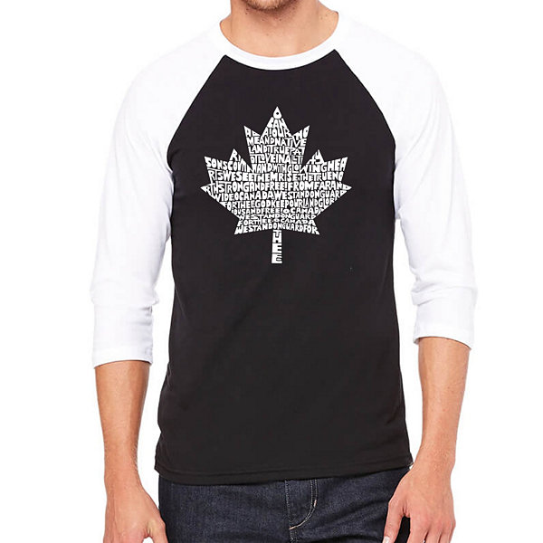Los Angeles Pop Art Men's Big & Tall Raglan Baseball Word Art T-shirt - CANADIAN NATIONAL ANTHEM