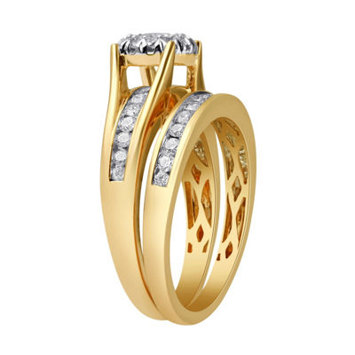 Womens 1 CT. T.W. Genuine White Diamond 14K Gold Bridal Set