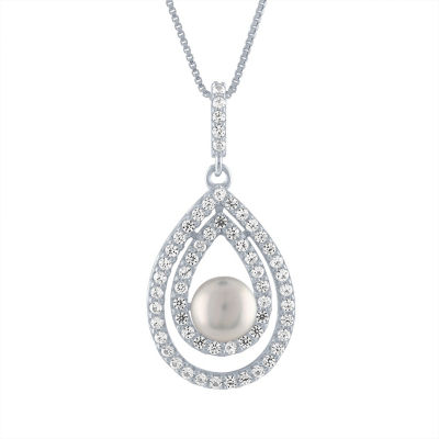 Womens Genuine White Cultured Freshwater Pearls Sterling Silver Pendant Necklace