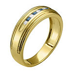 Mens 1/4 CT. T.W. Diamond & Genuine Blue Sapphire 14K Gold Wedding Band