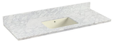 47.5-in. W 18.25-in. D Quartz Top With BacksplashIn Bianca Carara Color For 1 Hole Faucet - BiscuitUM Sink
