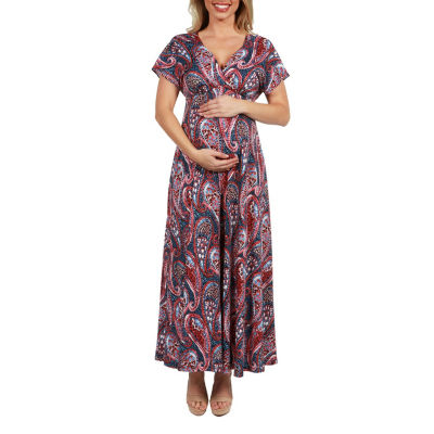 24Seven Comfort Apparel Constance Empire Waist Maternity Maxi Dress - Plus
