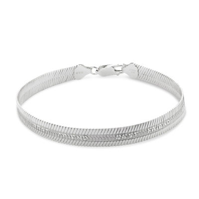 Made in Italy Sterling Silver 7.5 Inch Solid Herringbone Chain Bracelet