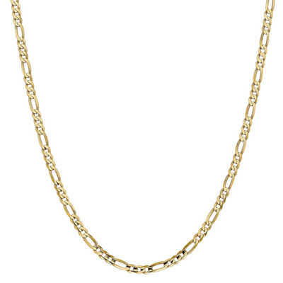 14K Gold 30 Inch Solid Figaro Chain Necklace