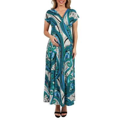 24Seven Comfort Apparel Dress Gisele Empire Waist Maternity Maxi Dress