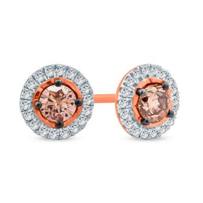 1/2 CT. T.W. Multi Color Diamond 10K Gold 6.8mm Stud Earrings