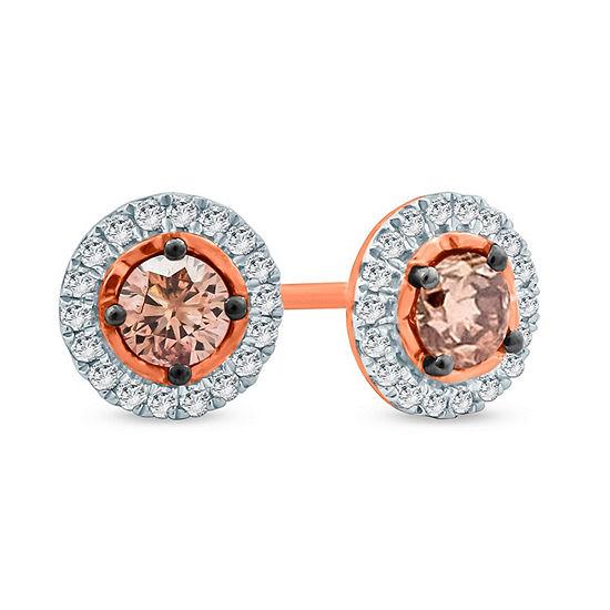 1/2 CT. T.W. Genuine Multi Color Diamond 10K Gold 6.8mm Stud Earrings