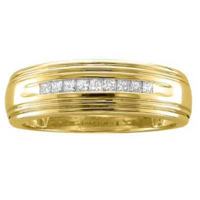 Mens 1/4 CT. T.W. White Diamond 14K Gold Wedding Band