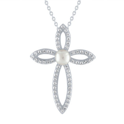 Womens Genuine White Cultured Freshwater Pearl Sterling Silver Cross Pendant Necklace