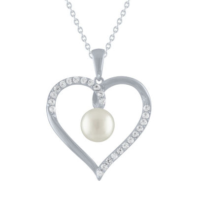 Womens Genuine White Sterling Silver Heart Pendant Necklace