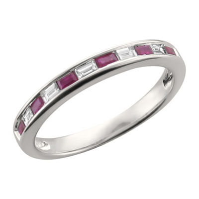 Womens 1/2 CT. T.W. Diamond & Lead-Glass Filled Ruby 14K Gold Wedding Band