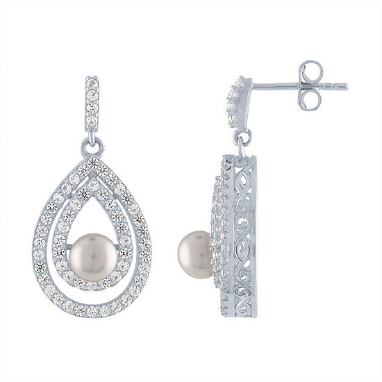 Genuine White Cultured Freshwater Pearl Sterling Silver Drop Earrings