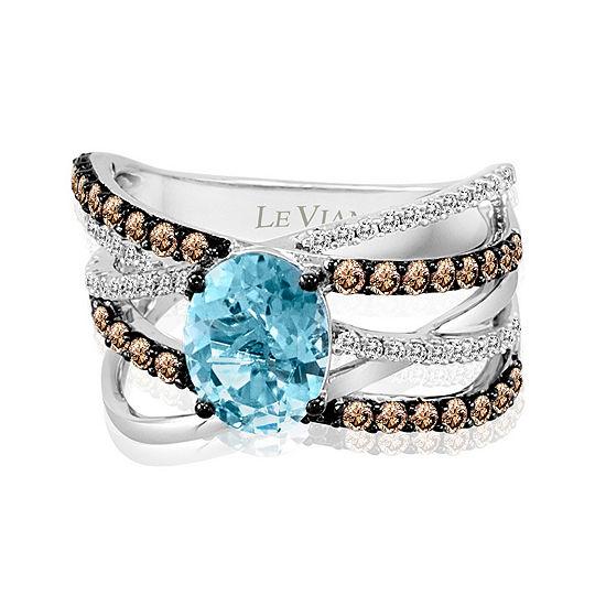 LIMITED QUANTITIES Le Vian Grand Sample Sale™ Ring featuring Sea Blue Aquamarine®, Chocolate Diamonds®, Vanilla Diamonds® set in 14K Vanilla Gold®