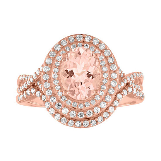 Modern Bride Gemstone Womens Genuine Pink Morganite &  3/8 CT. T.W. Diamond 10K Rose Gold Bridal Set