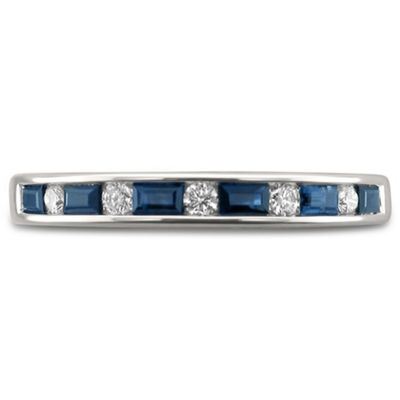 Womens 1/2 CT. T.W. Diamond & Genuine Blue Sapphire 14K Gold Wedding Band