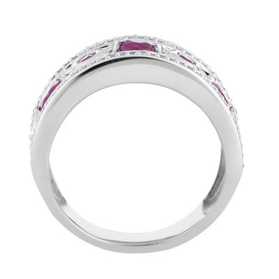 Womens 1/5 CT. T.W. Lead Glass-Filled Red Ruby 10K White Gold Cocktail Ring