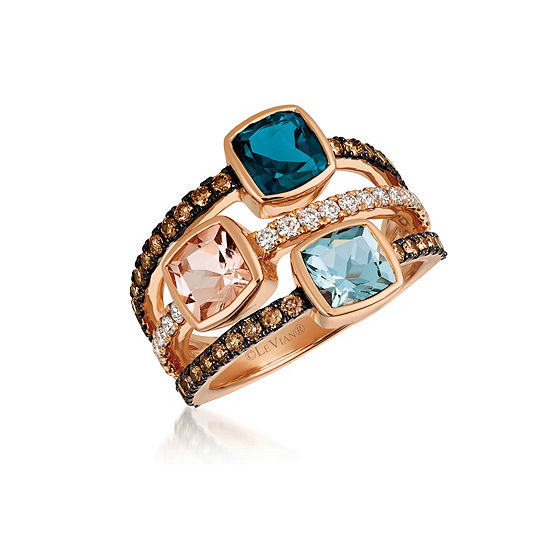 Le Vian Grand Sample Sale™ Deep Sea Blue Topaz™, Peach Morganite™, Sea Blue Aquamarine®, 5/8 CT. T.W. Vanilla Diamonds® & Chocolate Diamonds® 3-Stone Ring set in 14K Strawberry Gold®