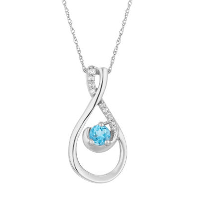 Womens Diamond Accent Genuine Blue Topaz 10K White Gold Pendant Necklace