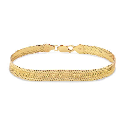 Made In Italy Womens 7 1/2 Inch 18K Gold Over Silver Chain Bracelet