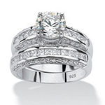 Diamonart Womens 3 1/4 CT. T.W. White Cubic Zirconia Platinum Over Silver Bridal Set