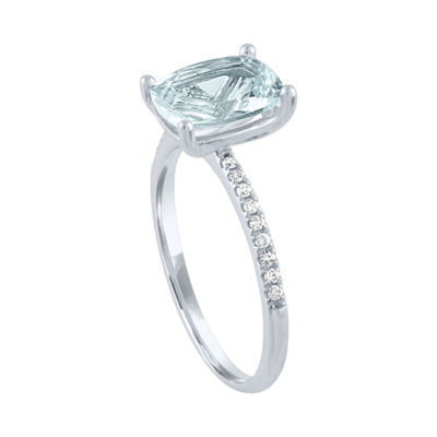 Modern Bride Gemstone Womens 1/5 CT. T.W. Genuine Blue Aquamarine 10K White Gold Bridal Set