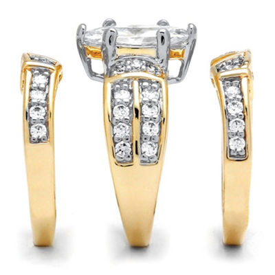 Diamonart Womens 3 CT. T.W. White Cubic Zirconia 18K Gold Over Silver Bridal Set