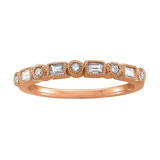 Womens 2MM 1/4 CT. T.W. Genuine White Diamond 14K Rose Gold Wedding Band