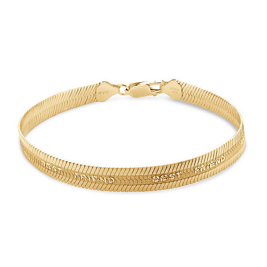 Made in Italy 7.5 Inch Solid Herringbone Chain Bracelet