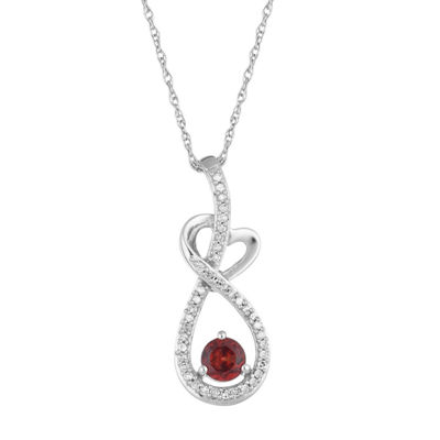 Womens 1/8 CT. T.W. Genuine Red Garnet 10K White Gold Pendant Necklace