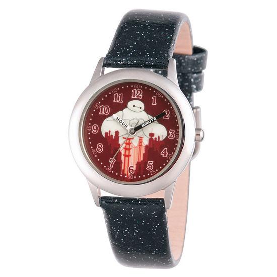 Disney Big Hero 6 Boys Black Leather Strap Watch-Wds000586