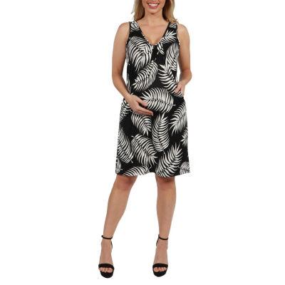 24Seven Comfort Apparel Aviana Feather Pattern Maternity Mini Dress - Plus
