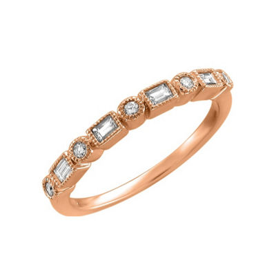 Womens 2mm 1/4 CT. T.W. White Diamond 14K Rose Gold Wedding Band