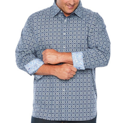 Society Of Threads Long Sleeve Geometric Button-Down Shirt-Big and Tall
