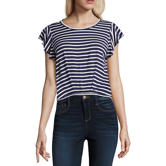 Cut And Paste Juniors-Womens Scoop Neck Short Sleeve T-Shirt