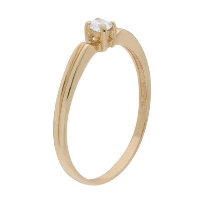 Itsy Bitsy Yellow Gold Over Sterling Womens Lab Created Clear 14K Gold Over Silver Cocktail Ring