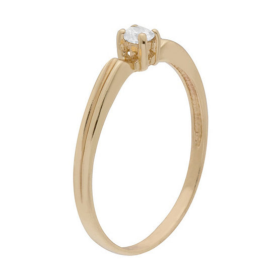 Itsy Bitsy Yellow Gold Over Sterling Womens Cubic Zirconia 14k Gold Over Silver Stackable Ring