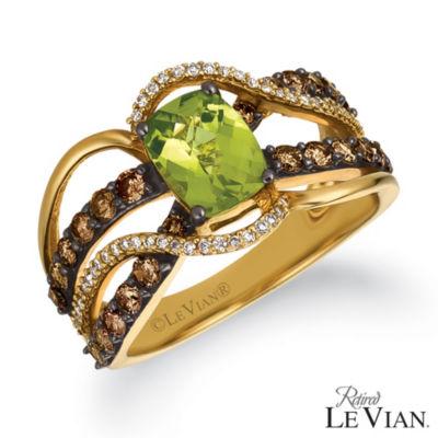 Grand Sample Sale™ By Le Vian® Green Apple Peridot™ 1 CT. T.W. Vanilla Diamonds® & Chocolate Diamonds® 14K Honey Gold™ Ring