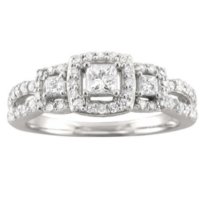 Love Lives Forever Womens 3/4 CT. T.W. White Diamond 14K White Gold 3-Stone Ring
