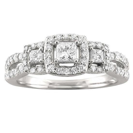 Love Lives Forever Womens 3/4 CT. T.W. Genuine White Diamond 14K White Gold 3-Stone Engagement Ring