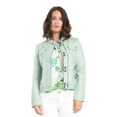 Green Vegan Leather Moto Jacket Belted Mandarin Collar