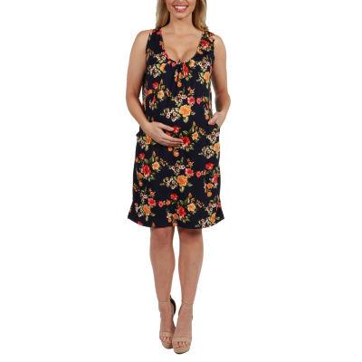 24Seven Comfort Apparel Bryn Floral Maternity Mini Dress - Plus