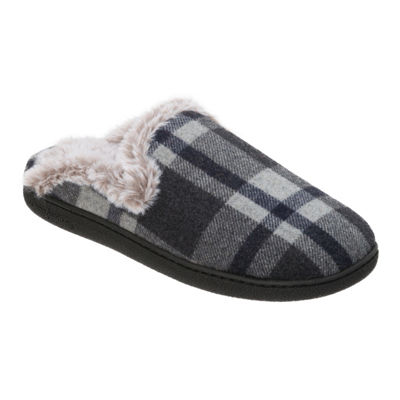 Dearfoams Plaid Scuff Slip-On Slippers