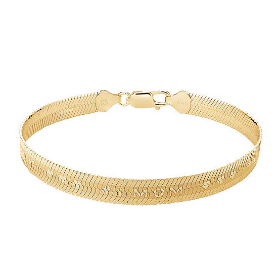 Made in Italy 18K Gold Over Silver 7.5 Inch Solid Herringbone Chain Bracelet