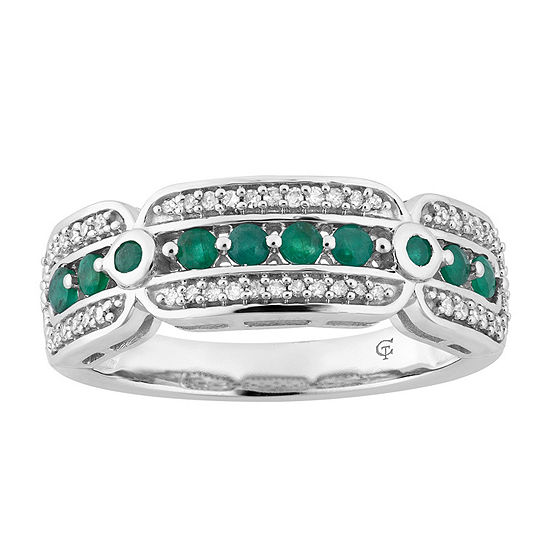 1/5 CT. T.W. Genuine Green Emerald 10K White Gold Band