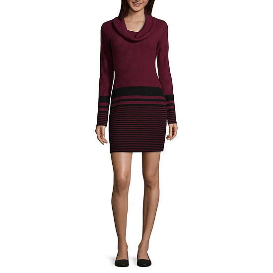 by&by-Juniors Long Sleeve Midi Sweater Dress