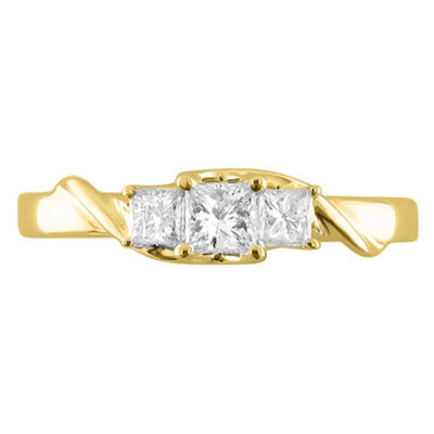 Love Lives Forever Womens 1/2 CT. T.W. White Diamond 14K Gold 3-Stone Ring