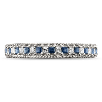 Womens 1/3 CT. T.W. Diamond & Genuine Blue Sapphire 14K Gold Wedding Band